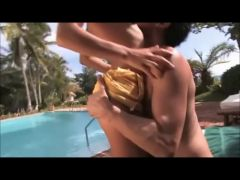 Large Tit Golden-Haired Anal by Pool