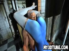 Blue skinned 3D cartoon babe gets fucked by Magneto