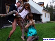 Piss drinking threeway outdoors