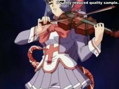 Nice violin player tentacle pounded