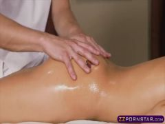 Super horny chick grabs the cock of the masseuse guy