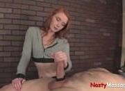 Redhead crushes massage client