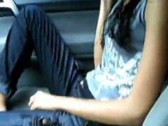 Hot Little Spanish Girlfriend Strips In The Car