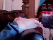 Shelly's soles get cummed and licked clean!
