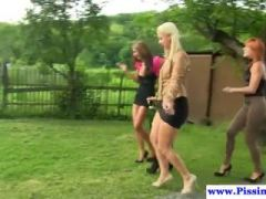 Outdoor piss babes drenched with goldenshower
