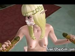 Foxy 3D Cartoon Elf Hottie Getting Fucked By A Monster