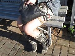 Girl in stockings on a train station 2