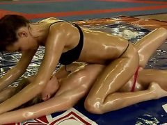 Hot chicks Lucy heart and Lyen Parker have some misunderstanding thats why they decided to deal with them in a fight, having there body covered in oil