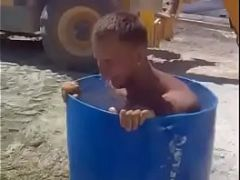 hot redneck strips fully naked and takes a bath in public