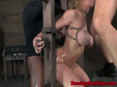 Bonded submissive mistreated by maledoms