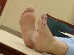 Candid Barefeet in Library