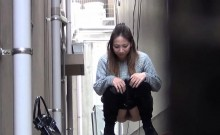 Asian squatting to piss