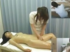 Japanese Woman Strips Down And Oils Up For A Massage