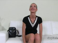 Skinny milf plays with cock on casting