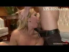 Bound blonde babe gives deep throat