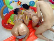 Vanessa Vaughn and Judit are two sexy wet brunettes that