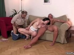 Old husband shares his young wife