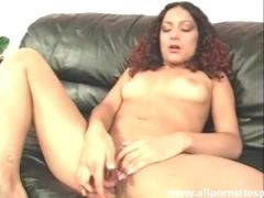 Sweetheart with curly hair masturbates