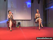 Two hot girls get a undressing show from 2 Nude strippers with an...