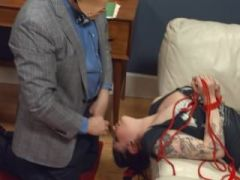 Ropes and toys in her deep asshole penetrated by a pig