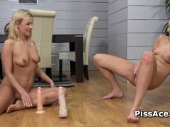 Lesbians drink piss and play with big dildos