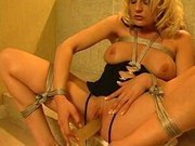 Bondage doesn\'t prevent her from masturbation
