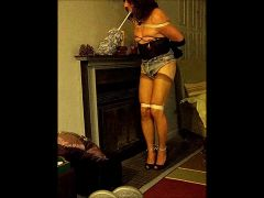 TV slut housework: dusting