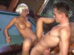 Blonde Asian with sexy big tits fucked in a DP