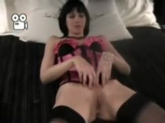 Sexy darksome brown woman i\'d like to fuck wife in pink corset and black stockings