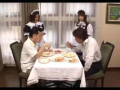 Men served by Japanese French maids