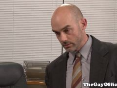 Suited hunks assfucking in office
