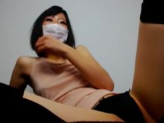 Stunning Asian darling is excited