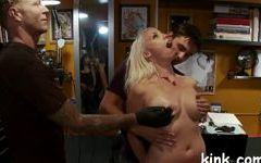 Huge tit girl in bondage and fucked for money Porn Videos