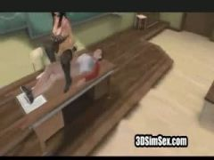 Hot animated 3d chick squirts all over