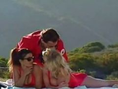 Sweet Bianca Trump with friend fucking a guy by the pool! FFM