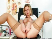 Nurse Zaneta masturbating in a gyno office