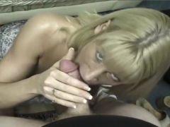 Blonde MILF Swallows A Hard Cock