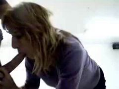Mature blonde giving an amazing blowjob to her friend