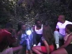 3 Sexy Black Females Get Fucked In Orgy