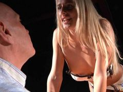 Young blonde call girl seduces and fucks old guy in a lascivious fuck