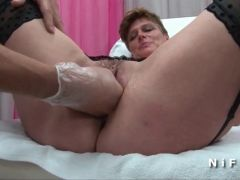 FFM Mature cougar anal plugged and fisted at the gyneco