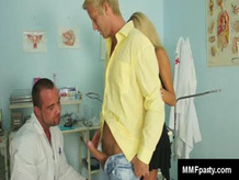 beautiful blonde pussy licked in FMM threesome at medics exam room