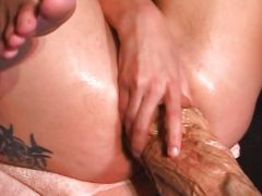 Hard action huge dildo penetration