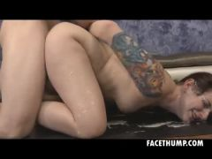 Brunette Maci May Roughed Up And Face Fucked On Floor