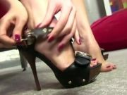Brunette with a need for ebony cock between her toes