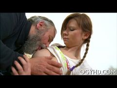 Steaming young honey fucks old guy