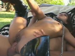 Wild outdoor MMF threesome with versatile Asian harlot called Lyla Lei
