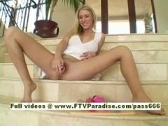 Allison sexy naked blonde babe on the stairs