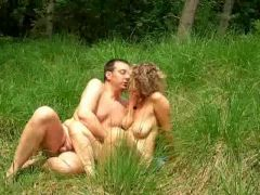 Nude old couple fucking in the field
