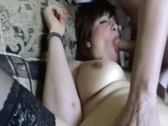 My busty wife in black stockings is always ready for a three-some